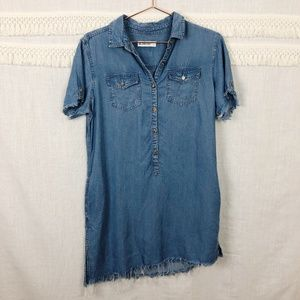 BlankNYC | Distressed Chambray Shirtdress | Size S